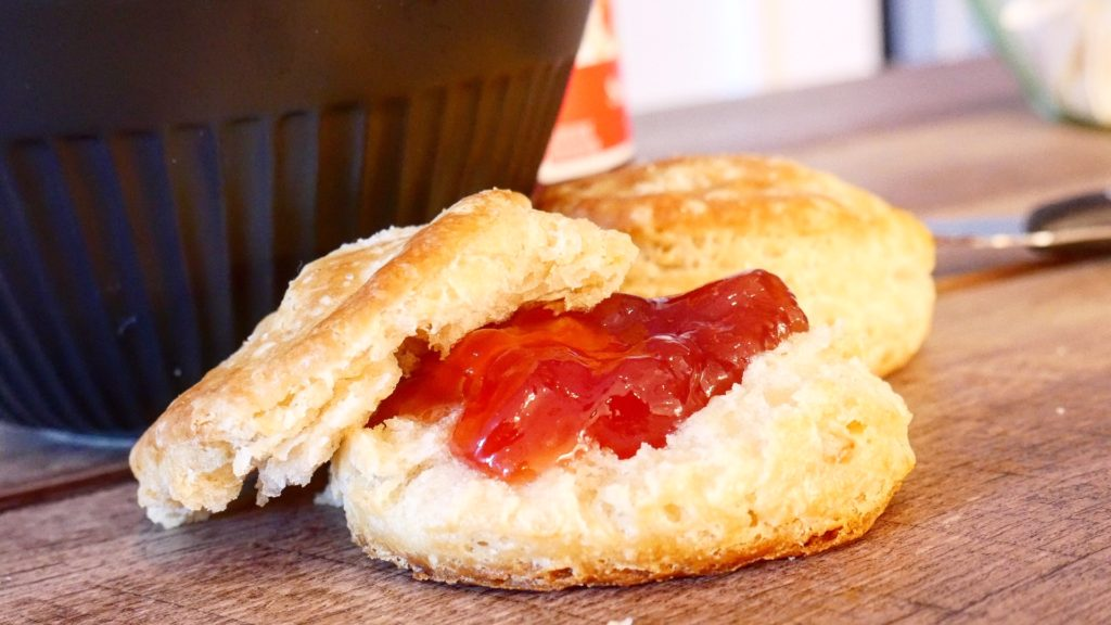 Sourdough Biscuit with Strawberry Jam